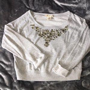 Tops - Gemmed long sleeve crop top/shorter shirt